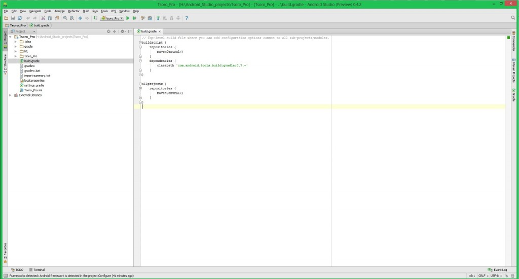 manually editing build.gradle in Android Studio preview 0.4.2